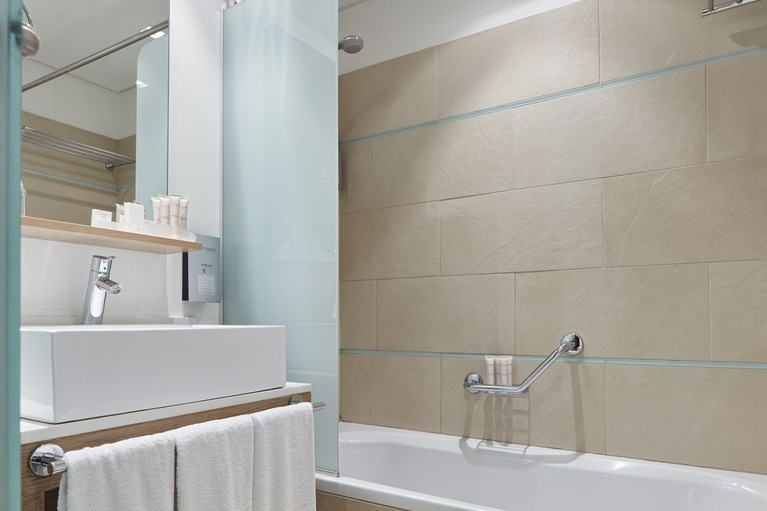 Bathroom details of our family rooms at Galaxy Hotel Iraklio, a family friendly hotel in Heraklion